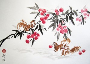 Елена Касьяненко, живопись, живопись У-син, китайский пейзаж, мастер-класс, розы, цветы и птицы