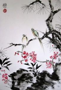 Беседа в благородном лесу, Елена Касьяненко, живопись У-син