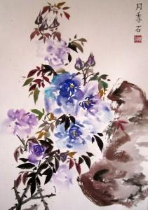 Синие розы, Елена Касьяненко, живопись У-син, картины Елены Касьяненко, Китай, китайская живопись, птицы, розы, фазан, цветы, цветы и птицы