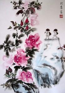 Елена Касьяненко, живопись У-син, картины Елены Касьяненко, Китай, китайская живопись, птицы, розы, фазан, цветы, цветы и птицы