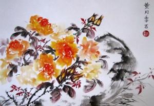 Желтые розы, Елена Касьяненко, живопись У-син, картины Елены Касьяненко, Китай, китайская живопись, птицы, розы, фазан, цветы, цветы и птицы