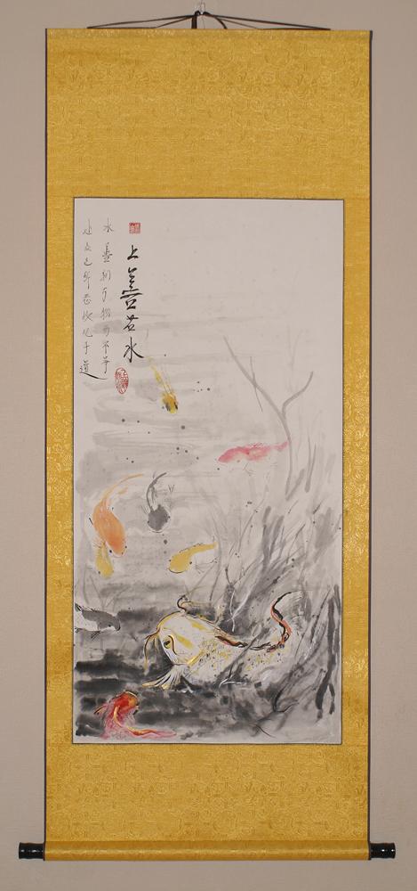 Китайская живопись, го-хуа, Золотые карпы, у-син, Живопись у-син, китайские карпы,