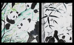 Панды, живопись у-син, у-син, китайская живопись