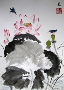 воробьи, гранаты, Елена Касьяненко, живопись У-син, китайская живопись, ласточки, Лотосы, хризантемы, шиповник