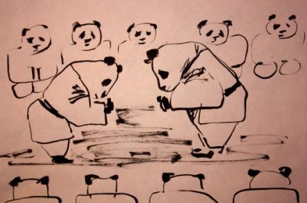 дзюдо, панда, у-син живопись , у-син, китайская живопись