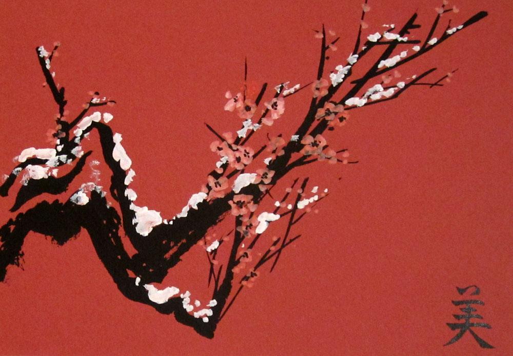 Елена Касьяненко, мастер-класс, школа живописи У-син, У-син, живопись У-син, китайская живопись, живопись, Новый год, открытки,