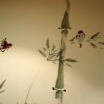 Елена Касьяненко, бамбук и воробьи, роспись стен, живопись У-Син, китайская живопись, го-хуа