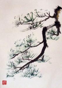 Елена Касьяненко, сосна, живопись У-Син, традиционные китайские сюжеты