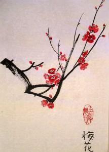 китайская живопись, го-хуа, гохуа, цветущая слива, мэй хуа, 4 благородных