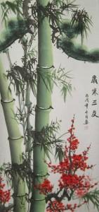 го-хуа, китайская живопись, три друга зимы, цветущая слива, мэй хуа, сосна, бамбук
