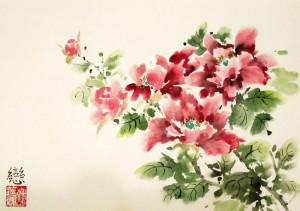 Елена Касьяненко, живопись У-Син, китайская живопись, цветы и птицы, выставка картин, лотосы, пионы