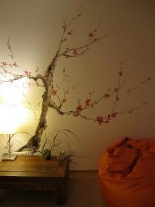 Елена Касьяненко, китайская живопись, живопись у-син, настенная роспись, интерьер в китайском стиле, 4 благородных, бамбук, цветущая слива, сосна, хризантема, орхидея