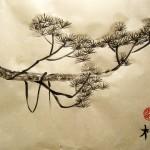 Ветка сосны, сосна, китайская живопись, го-хуа