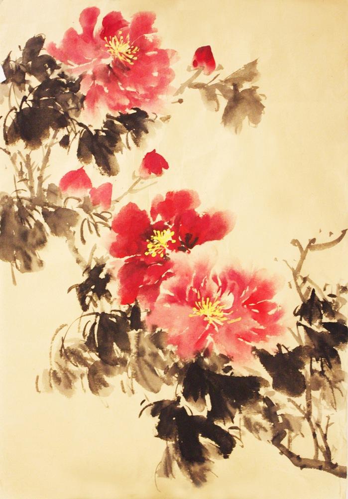 китайская живопись пионы: