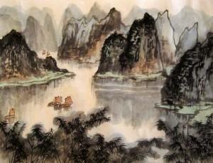 китайская живопись, го-хуа, гохуа, Ли Илиан, горы-воды, пейзажи