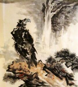 Орлы, китайская живопись, Ли Илиан, гохуа