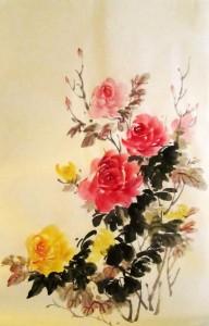 китайская живопись, го-хуа, гохуа, Ли Илиан, розы