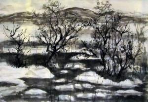 Ли Илиан, китайская живопись, гохуа, го-хуа, Елена Касьяненко, горы-воды, пейзажи, Зимний пейзаж