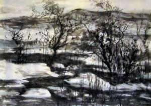 Ли Илиан, китайская живопись, гохуа, го-хуа, горы-воды, пейзажи, Зимний пейзаж