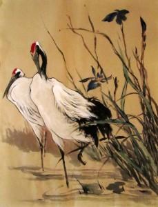 Ли Илиан, китайская живопись, гохуа, журавли
