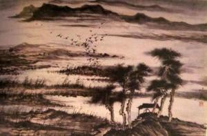 китайская живопись, го-хуа, гохуа, Ли Илианг, горы-воды, шань-шуй, пейзажи