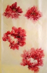традиционная живопись го-хуа, розы, пионы, Ли Илиан, Елена Касьяненко