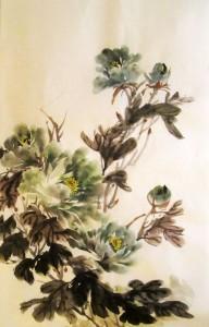 китайская живопись, го-хуа, гохуа, Ли Илиан, пион