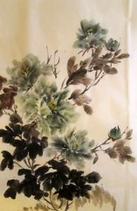 китайская живопись, го-хуа, гохуа, пион, Елена Касьяненко, Ли Илиан