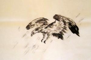 орлы, китайская живопись, Ли Илиан, гохуа, Елена Касьяненко