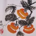 китайская живопись, хурма, го-хуа, гохуа, мастер-класс, работы учеников