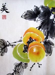 Елена Касьяненко, картины Елены Касьяненко, го-хуа, китайская живопись, китайская традиционная живопись го-хуа, фрукты, овощи, персики, хурма, личи, гранаты