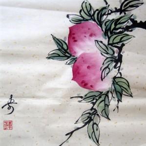 Елена Касьяненко, го-хуа, гохуа, китайская живопись, персики, мастер-класс