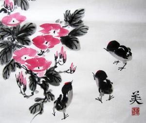 го-хуа, китайская живопись, го хуа, Елена Касьяненко, мастер-класс, вьюнки, цыплята