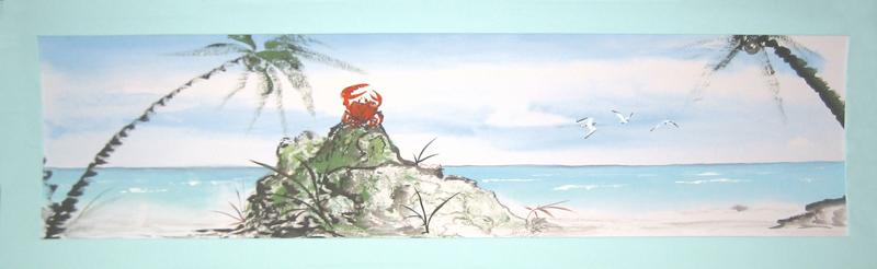 Живопись у-син, морской пейзаж, крабинзон крузо, крабинзон, Щербаков Андрей, у-син, китайская живопись