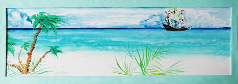 Пальмы, морской пейзаж, Щербаков Андрей, живопись у-син
