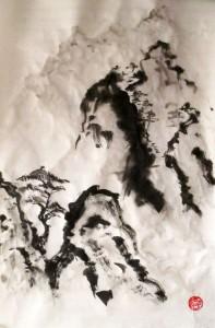 пейзажи, горы-воды, китайская живопись, Елена Касьяненко, Людмила Чистикина, Людмила Данилина, Мария Соловейчик, Ольга Морозова, Ася Бондаренко, гохуа, го-хуа