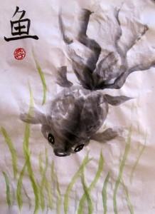 Елена Касьяненко, китайская живопись, го-хуа, гохуа, золотые рыбки, мастер-класс