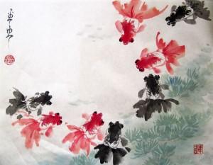 Парные золотые рыбки, Елена Касьяненко, китайская живопись, золотые рыбки, го-хуа, гохуа, го хуа, мастер-класс по китайской живописи, живопись У-Син
