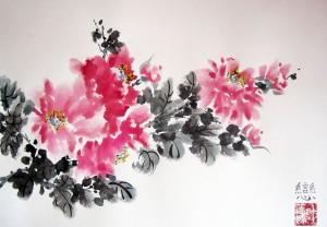 Елена Касьяненко, живопись У-Син, китайская живопись, древовидный пион, мастер-класс