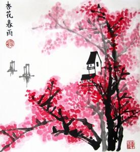 Елена Касьяненко, китайская живопись, го-хуа, гохуа, пейзажи, цветущий абрикос в весенний дождь, мастер-класс по китайской живописи