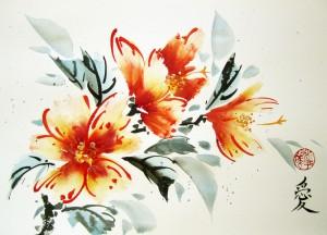 мастер-класс, Елена Касьяненко, цветы, живопись У-Син, китайская живопись, гибискус
