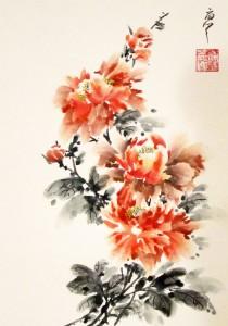 Елена Касьяненко, живопись У-Син, китайская живопись, древовидный пион, мастер-класс, пионы