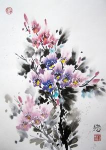 мастер-класс, Елена Касьяненко, цветы, живопись У-Син, китайская живопись, рододендрон