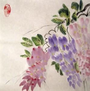 Елена Касьяненко, китайская живопись, го-хуа, гохуа, мастер-класс, глициния, се-и