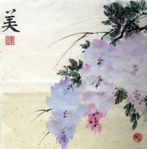 Елена Касьяненко, китайская живопись, гохуа, го-хуа, глициния, мастер-класс