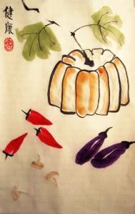 Елена Касьяненко, Екатерина Чернова, Ольга Морозова, Инга Проценко, китайская живопись, го-хуа, гохуа, овощи, обучение рисованию