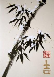 Елена Касьяненко, китайская живопись, живопись У-Син, открытки, бамбук под снегом, мастер-класс, подарки, обучение рисованию