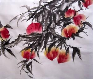 Елена Касьяненко, китайская живопись, гохуа, го-хуа, се-и, персики, обучение рисованию, Школа живописи У-Син