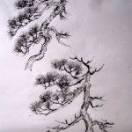 Елена Касьяненко, китайская живопись, горы-воды, сосны, деревья, горы, обучение китайской живописи, пейзажи