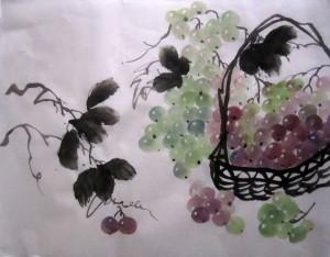 Елена Касьяненко, виноград, китайская живопись, обучение китайской живописи, Школа живописи У-Син, се-и, гунби, гун-би